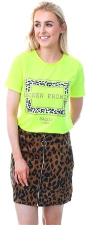 Parisian Neon Green Leopard Broken Promise T Shirt  - Click to view a larger image