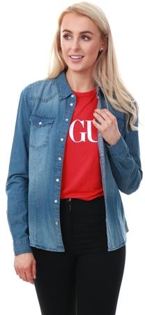 Only Blue / Dark Blue Denim Regular Fit Denim Shirt  - Click to view a larger image