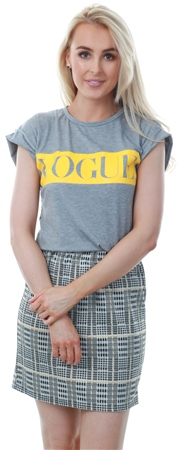 Parisian Grey Roll Up Sleeve Vogue Print T-Shirt  - Click to view a larger image