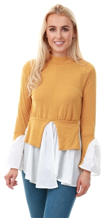 Ax Paris Mustard Polo Neck Shirt Jumper  - Click to view a larger image