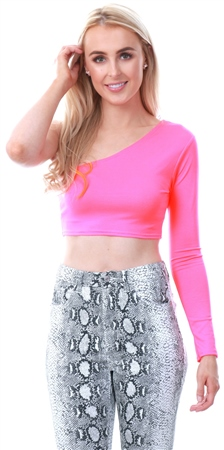 Parisian Neon Pink One Shoulder Crop Top  - Click to view a larger image