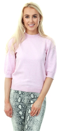 Vila Lilac Snow Short Sleeve Knit Pattern Jumper  - Click to view a larger image