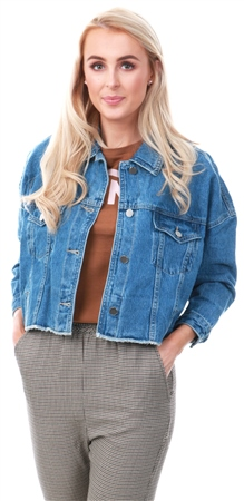 Momokrom Blue Denim Cropped Ruched Back Jacket  - Click to view a larger image