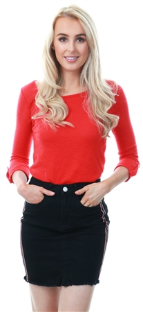 Only High Risk Red Loose 3/4 Sleeve Crew Top  - Click to view a larger image