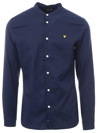 Lyle & Scott Navy Grandad Collar Long Sleeve Shirt  - Click to view a larger image