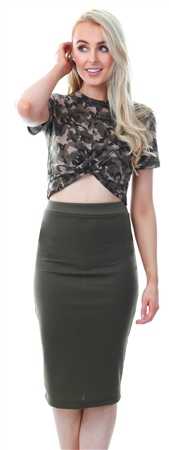 Missi Lond Khaki / Green Pencil Bodycon Skirt  - Click to view a larger image