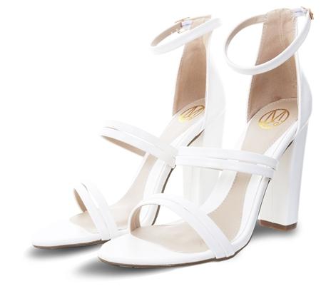 13c1558e9e Dv8 White Sheridan Pu Heeled Strap Shoe | | Shop the latest fashion online  @ DV8
