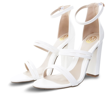 Dv8 White Sheridan Pu Heeled Strap Shoe  - Click to view a larger image