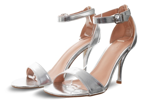 Truffle Silver Ankle Strap Open Toe Shoe  - Click to view a larger image