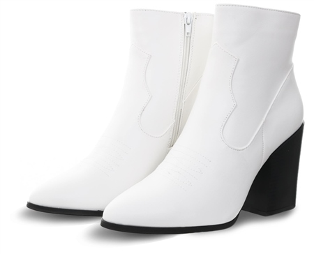 Truffle White Betty Pointed Toe Heeled Boot  - Click to view a larger image