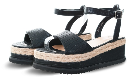 No Doubt Black Croc Pu Slip On Sandal  - Click to view a larger image