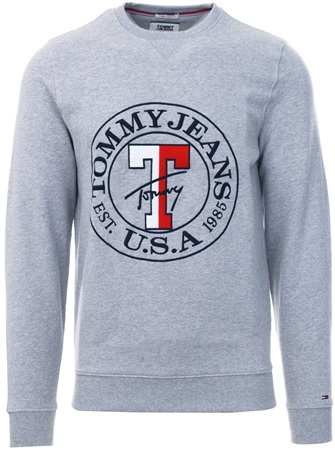 Hilfiger Denim Grey Crew Neck Logo Sweatshirt  - Click to view a larger image