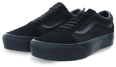 Vans Black/Black Platform Old Skool Shoes  - Click to view a larger image