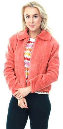 Jdy Orange / Dusty Orange Textured Teddy Jacket  - Click to view a larger image