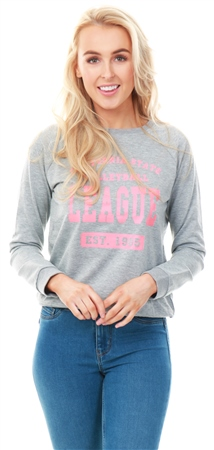 Brave Soul Grey Marl / Coral Leona Print Sweat  - Click to view a larger image