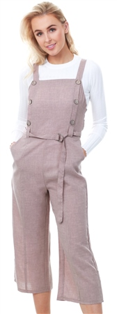 Qed Mocha Brown Button Detail Cullotte Jumpsuit  - Click to view a larger image
