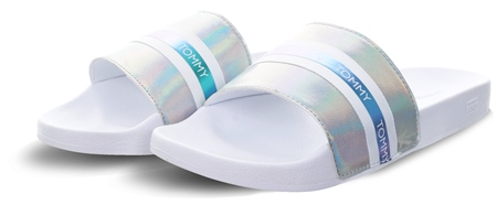 Hilfiger Denim White Metallic Poolside Sandals  - Click to view a larger image