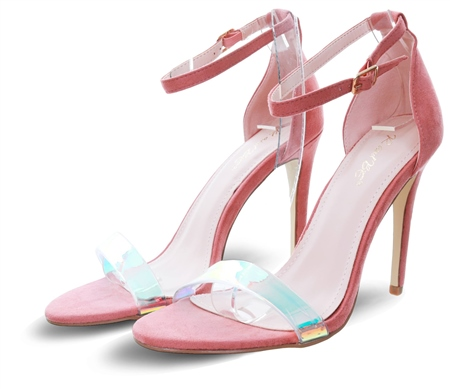No Doubt Rose Pink Perspex Halo Strap Heel  - Click to view a larger image