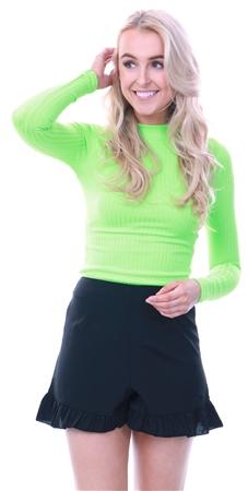 Influence Black High Waist Frill Hem Shorts  - Click to view a larger image