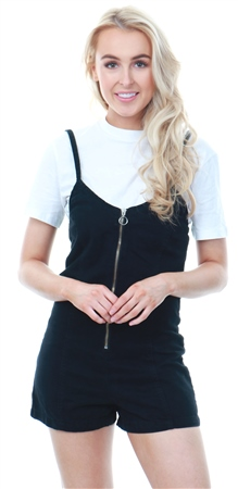 Momokrom Black Dark Denim Zip Up Strappy Playsuit  - Click to view a larger image