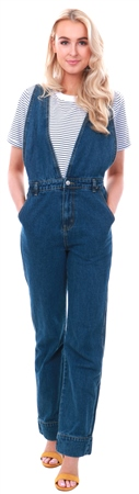 Momokrom Denim Dark Wash Dungarees  - Click to view a larger image
