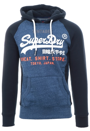 Superdry Navy Sweat Shirt Store Raglan Hoodie  - Click to view a larger image
