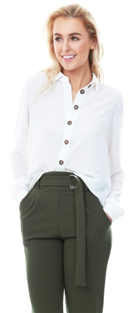 Veromoda Snow White / White Button Detail Shirt  - Click to view a larger image