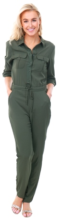 Brave Soul Khaki / Safari Green Jumpsuit  - Click to view a larger image