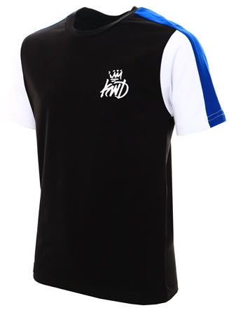 Kings Will Dream Black/White/Cobalt Contrast Stripe Mert T-Shirt  - Click to view a larger image