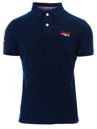Superdry True Navy Indigo Classic Pique Polo Shirt  - Click to view a larger image