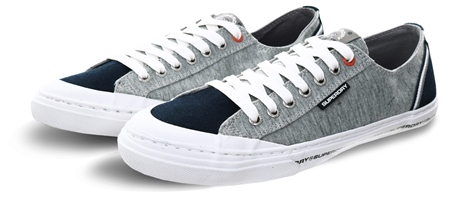 Superdry Grey Grit/Dark Navy Low Pro Retro Trainers  - Click to view a larger image