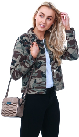 Parisian Camo Button Front Denim Jacket  - Click to view a larger image