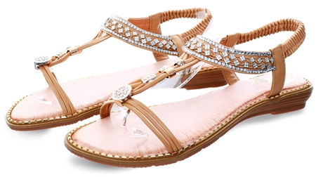 Zanni Eden Nude Embellished Stud Sandal  - Click to view a larger image