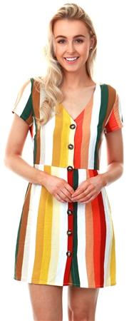 Glamorous Khaki / Red / Yellow Stripe Button Dress  - Click to view a larger image