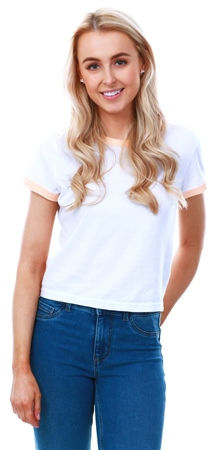 Brave Soul White/Peach Ringer Short Sleeve T-Shirt  - Click to view a larger image