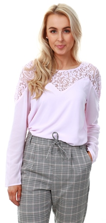 Vila Lilac Snow Lace Detailed Top  - Click to view a larger image