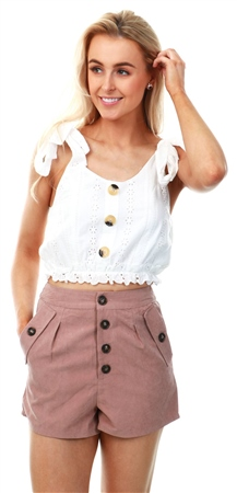 Miss Truth Blush Suedette Button Shorts  - Click to view a larger image