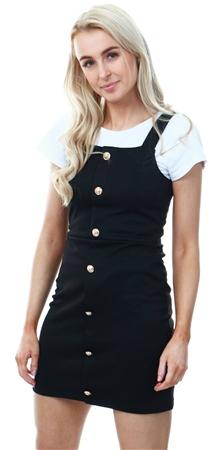 a9693ea92f1a Missi Lond Black Button Mini Pinafore Dress | | Shop the latest ...