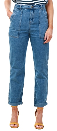 Urban Bliss Vintage Blue Denim Loose Cargo Jeans  - Click to view a larger image