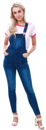 Urban Bliss Indigo Denim Utility Skinny Dungarees  - Click to view a larger image
