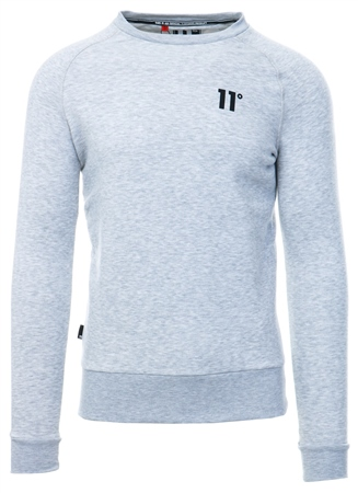 11degrees Grey Marl Core Crew Sweat  - Click to view a larger image