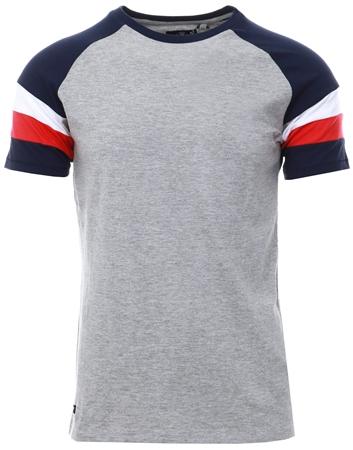 Threadbare Grey Dexter Colour Block T-Shirt  - Click to view a larger image