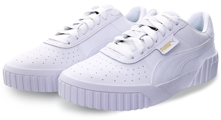 Puma White Cali Lace Up Sneakers  - Click to view a larger image