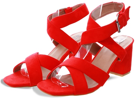 No Doubt Red Low Block Heel Shoe  - Click to view a larger image