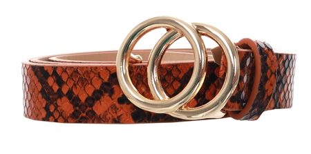 Pieces Cognac Karren Snake Print Belt  - Click to view a larger image