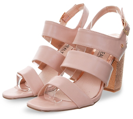 Una Healy Nude Block Heel Open Toe Shoe  - Click to view a larger image