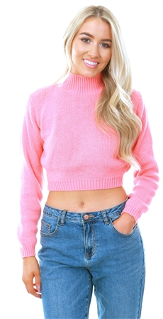Glamorous Sweet Coral Cropped High Neck Jumper  - Click to view a larger image