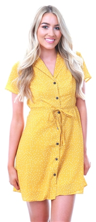 Qed Yellow Spotted Button Up Waist Tie Dress  - Click to view a larger image