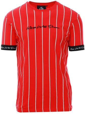 Kings Will Dream Red Clifton Pinstripe T-Shirt  - Click to view a larger image