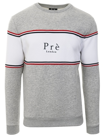 Pre London Grey/White Stripe College Sweatshirt  - Click to view a larger image